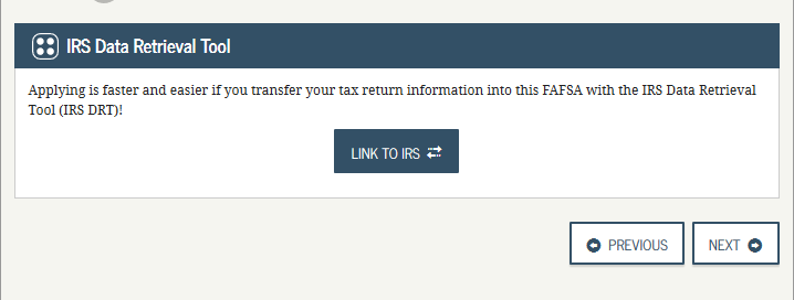 IRS link from FAFSA