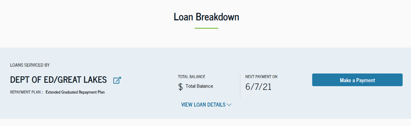 View your loan breakdown at studentaid.gov