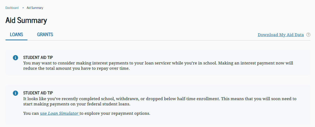 View your federal loans at studentaid.gov
