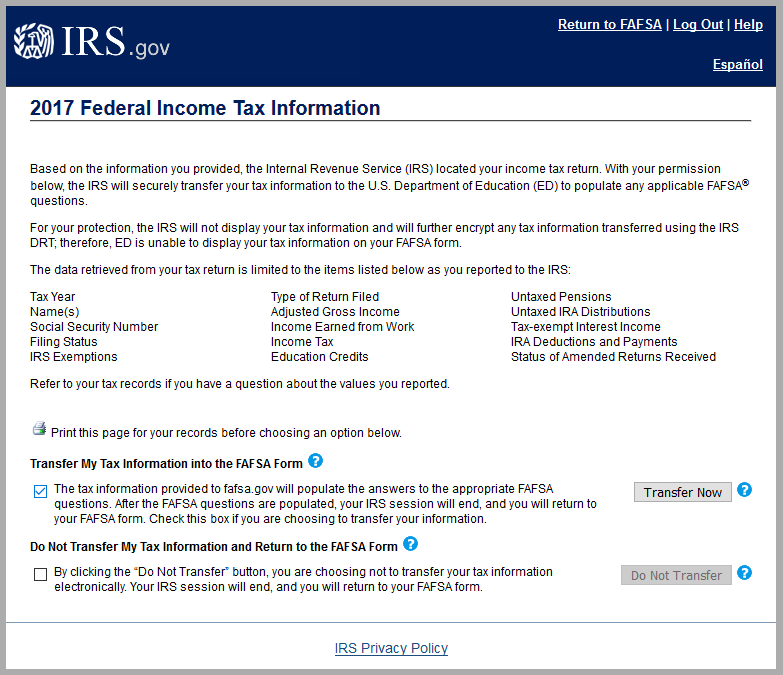 Federal Income Tax Information