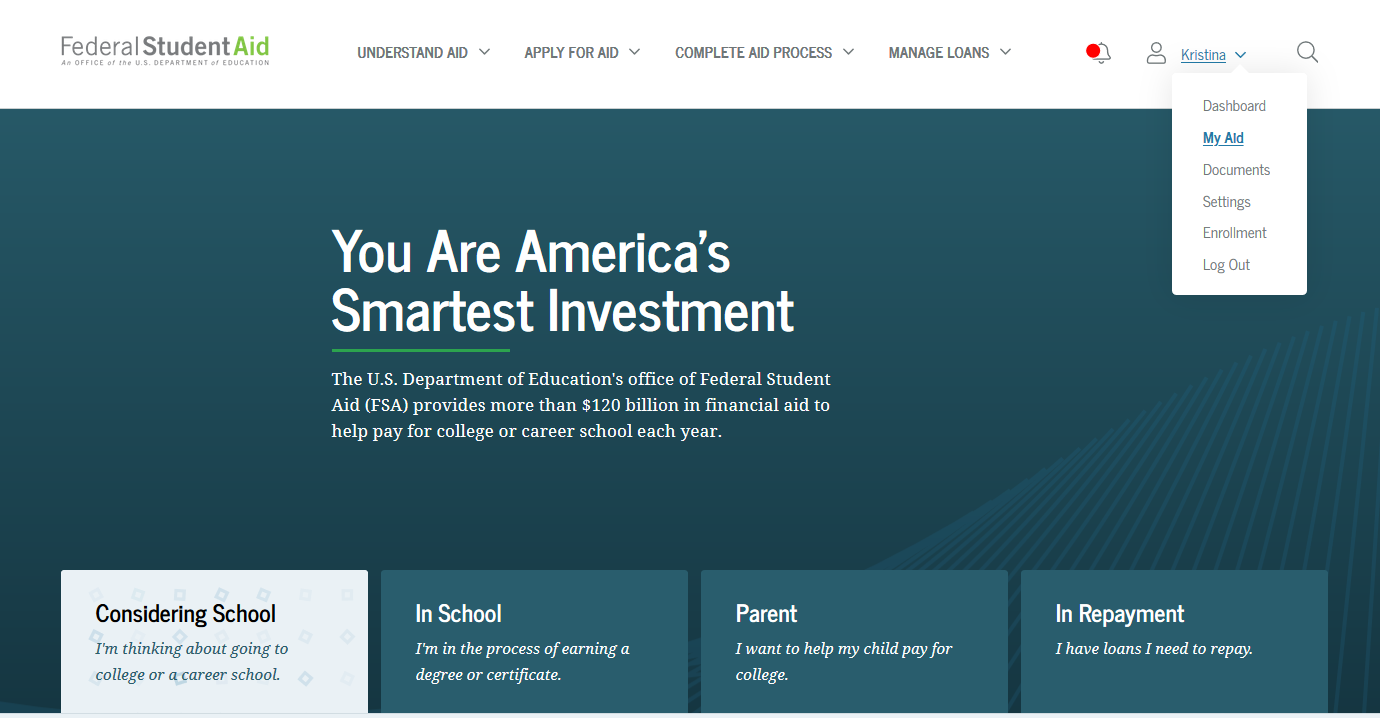 Log into studentaid.gov to access your loan history